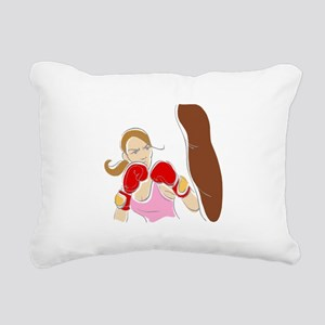 Angry Female Boxer Rectangular Canvas Pillow