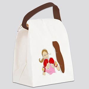 Angry Female Boxer Canvas Lunch Bag