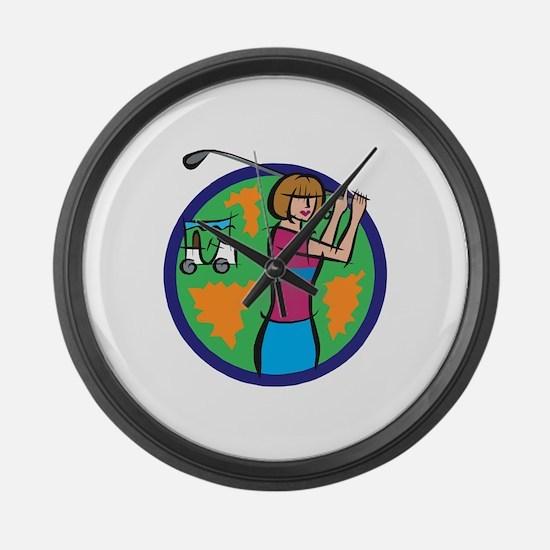 Woman Golfer Large Wall Clock