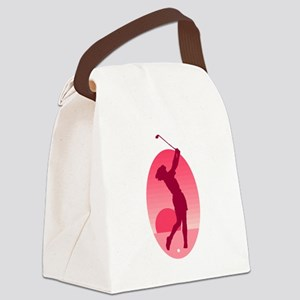 Pink Ladies Golf Logo Canvas Lunch Bag