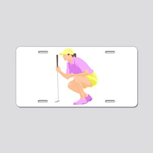 Woman Golfer Aluminum License Plate