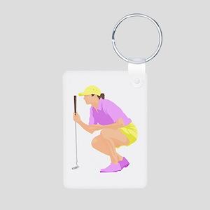 Woman Golfer Aluminum Photo Keychain