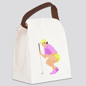 Woman Golfer Canvas Lunch Bag