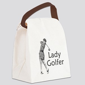 Lady Golfer Canvas Lunch Bag