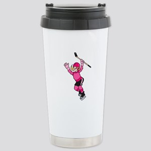 Pink Hockey Winner Stainless Steel Travel Mug