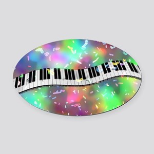 Rainbow Keyboard Oval Car Magnet