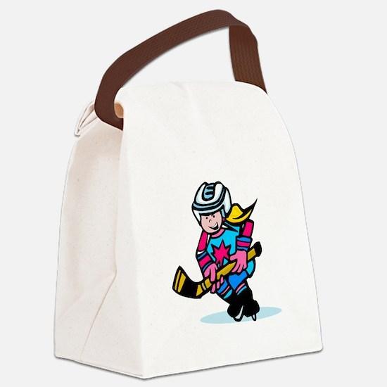 Blonde Hockey Girl Canvas Lunch Bag