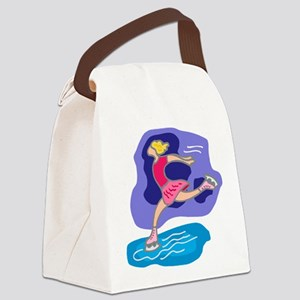 Ice Skater Canvas Lunch Bag