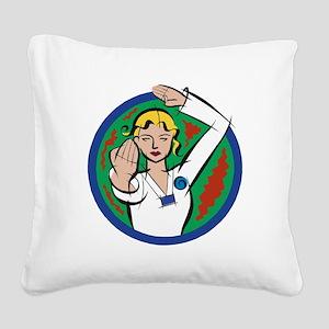 Female Martial Arts Square Canvas Pillow