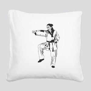 Woman Fighter Square Canvas Pillow
