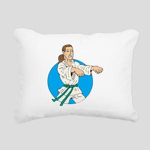 Green Belt Girl Rectangular Canvas Pillow