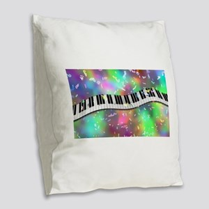 Rainbow Keyboard Burlap Throw Pillow