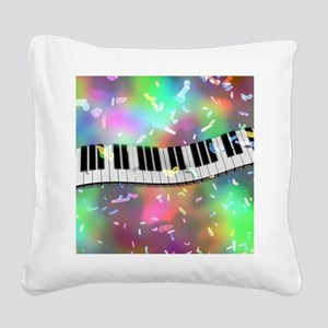 Rainbow Keyboard Square Canvas Pillow
