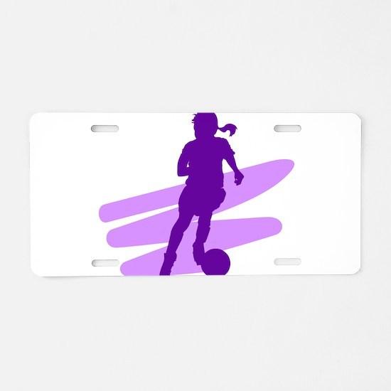 Purple Soccer Girl Aluminum License Plate