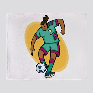 Soccer girl - red/yellow Throw Blanket