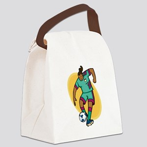 Soccer girl - red/yellow Canvas Lunch Bag