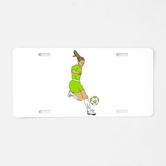 Lime Green Soccer Girl Aluminum License Plate