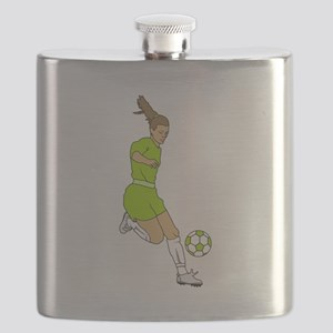 Lime Green Soccer Girl Flask