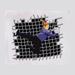 Soccer Girl Goalie Throw Blanket
