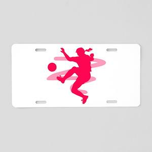 Pink Soccer Girl Logo Aluminum License Plate