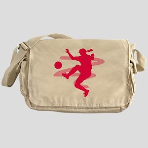 Pink Soccer Girl Logo Messenger Bag