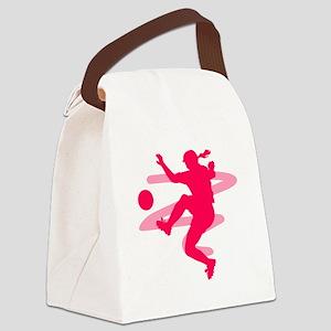 Pink Soccer Girl Logo Canvas Lunch Bag