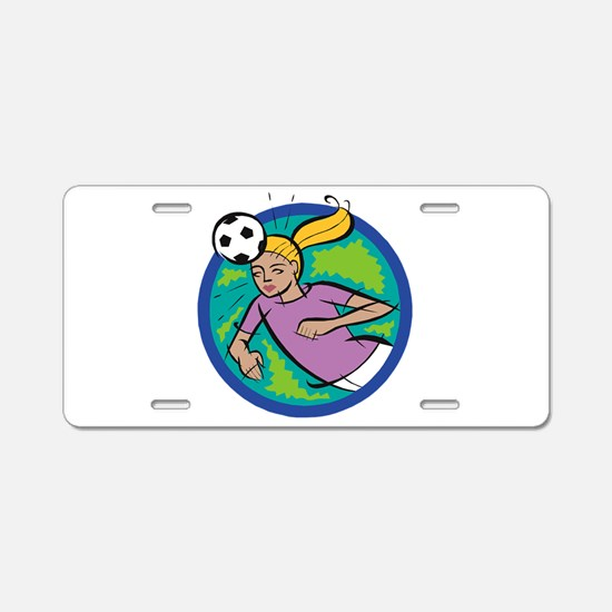 Soccer Girl Header Aluminum License Plate