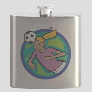 Soccer Girl Header Flask