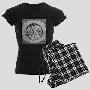 Grey Clock Graphic Women's Dark Pajamas
