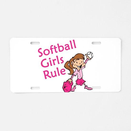 Softball girls Rule Aluminum License Plate