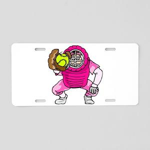 Pink Softball Catcher Aluminum License Plate