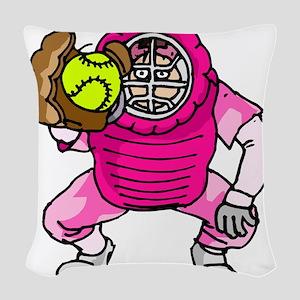 Pink Softball Catcher Woven Throw Pillow