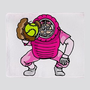 Pink Softball Catcher Throw Blanket