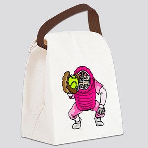 Pink Softball Catcher Canvas Lunch Bag