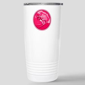 Pink Surf Logo Stainless Steel Travel Mug