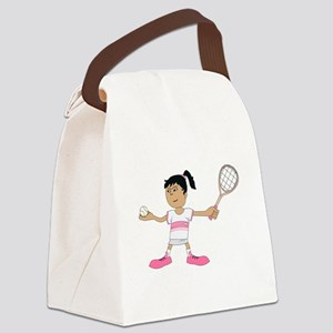 Tennis Girl Canvas Lunch Bag