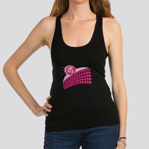 Pink Volleyball Logo Racerback Tank Top