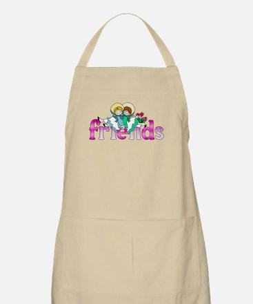 Colorful Logo Two Girls Sitting on Text Frie Apron