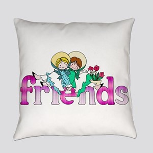 Colorful Logo Two Girls Sitting on Everyday Pillow