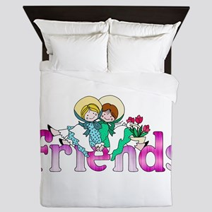 Colorful Logo Two Girls Sitting on Tex Queen Duvet
