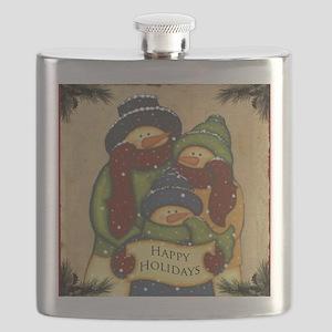 Folk Art Snowman Family Flask