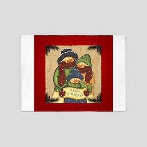 Folk Art Snowman Family 5'x7'Area Rug