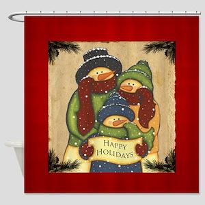 Folk Art Snowman Family Shower Curtain