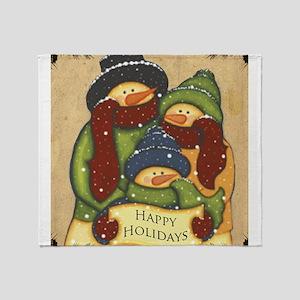 Folk Art Snowman Family Throw Blanket