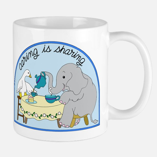 Duck and Elephant Tea Party Caring Sharing Mugs