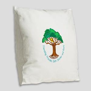 Bright Colored Friendship Tree Burlap Throw Pillow