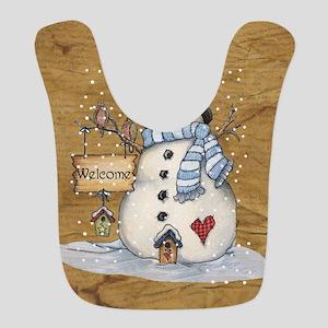 Folk Art Snowman Bib