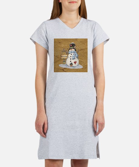 Folk Art Snowman Women's Nightshirt