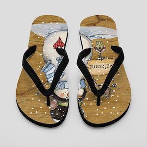Folk Art Snowman Flip Flops