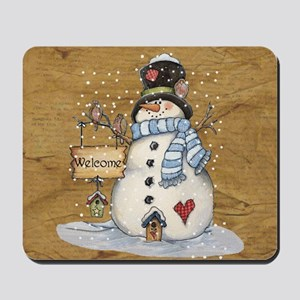 Folk Art Snowman Mousepad